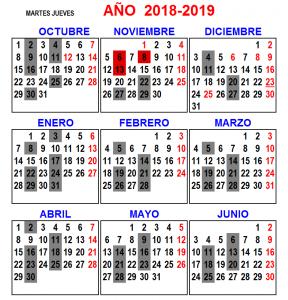 Martes jueves 2018 - 2019